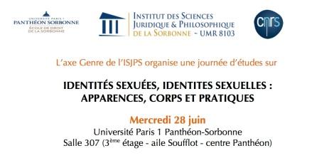 Identités sexuées, identités sexuelles. Journée d'études, 28 juin 2017, Université Paris1