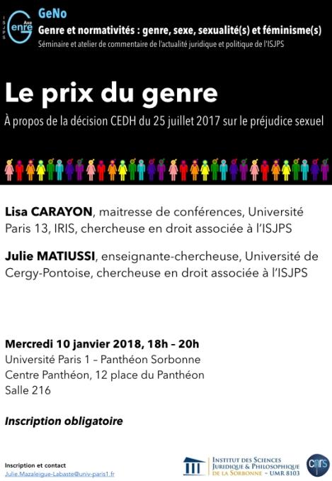 Le prix du genre. À propos de la décision CEDH du 25 juillet 2017 sur le préjudice sexuel, 10/01/2018, Lisa Carayon et Julie Matiussi au séminaire GeNo, Paris1