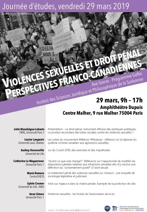 Journée d'études Violences sexuelles et droit pénal : perspectives franco-canadiennes, vendredi 29 mars 10h-17h, Université Paris 1 Panthéon-Sorbonne